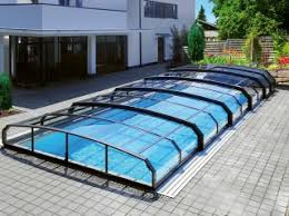 retractable pool cover. Retractable Swimming Pool Enclosure Oceanic Low Cover