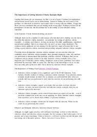selection criteria examples