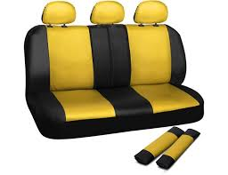 oxgord leatherette bench seat covers universal fit for car truck suv van yellow black