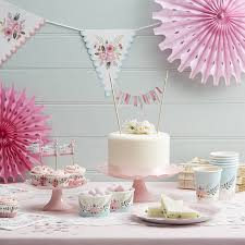 Pink Flower Paper Plates Floral Design Paper Plates By Ginger Ray Notonthehighstreet Com