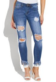 Vip Jeans Size Chart Distressed Jeans With Grommets