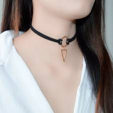 details about geometry choker necklace black leather wrap rose gold plated triangle pendant