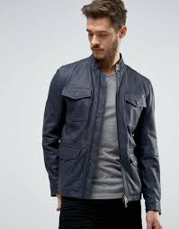 boss orange by hugo leather jacket 4 pocket navy men gorgeous