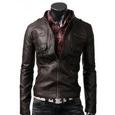 zip pocket dark brown slim fitted leather jacket men