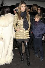 She's going to star in her own reality show. Liz Hurley In Beige Moncler Grenoble Down Coat Shiny Nylon