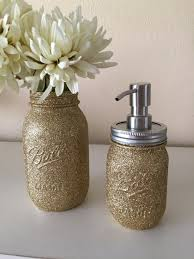 Mason Jar Bathroom Accessories Glitter Mason Jar Bathroom Set 2 Pc Set Champagne Gold