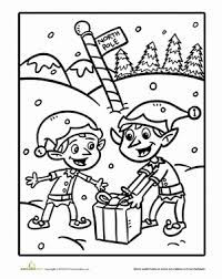 Christmas Elf Coloring Page Christmas Coloring Pages Pinterest