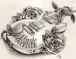 эскиз тату гитары и роз