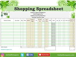 Shopping Spreadsheet Shopping Spreadsheet Great List To Go Shopping When Using