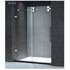 sliding glass doors bathroom with stainless steel elements photo 1