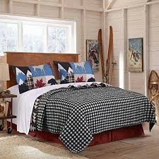 Blue White Red Black Hunting Themed Quilt King Set Black Bear ... & Blue White Red Black Hunting Themed Quilt King Set Black Bear Bedding Moose  Plaid Log Cabin Adamdwight.com