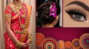 south indian bridal saree d with makeup hairstyle for wedding saree makeup hair tutorial