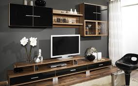 Tv Stand Decor Long Black Wooden Tv Stand With Three Storage Having Glass Doors