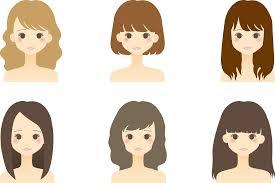フリーイラスト ヘアスタイルの違う6人の女性のセットでアハ体験