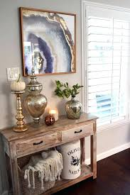 Farmhouse Console Table Vignette In A Foyer Entryway Decorating
