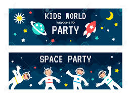 Space Party Invitation Flat Design Vector Illustration Childs Rocket Birthday Party