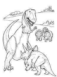 T Rex En Andere Dinosaurussen Kleurplaat