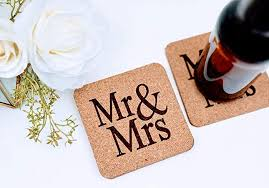 Custom cork coasters Housewarming Image Unavailable Aliexpress Amazoncom Mr And Mrs Custom Laser Engraved Cork Coasters Set Of
