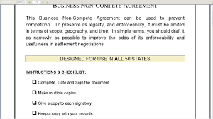 business non compete agreement business non compete agreement