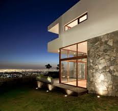 view modern house lights. Amazing Donoso Smith House Completed Near Green Turfs Surrounding It Wooden Striped Floor Along View Modern Lights G