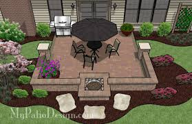 Fire Pit in Seating Wall Patio TinkerTurf