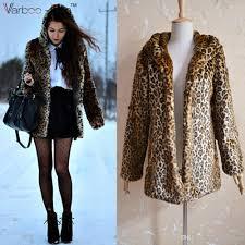 fashion winter women faux fur coat jacket long sleeve gy leopard fur jacket long hooded fur outerwear leopard coat top by