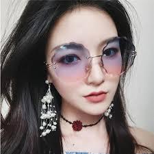 <b>Round Flowers</b> Edge Frameless <b>Sunglasses</b> Ladies Gradient Color ...