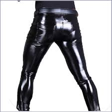 men s black skin tight wet look front zip stretch faux latex leather pants 93 95