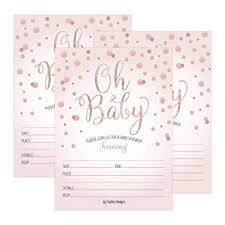 Baby Shower Invitations Template 25 Blush Rose Gold Girl Oh Baby Shower Invitations Cute Princess Printed Fill Or Write In Blank Invite Printable Shabby Chic Unique Custom Vintage