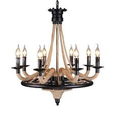 industrial vintage chandelier 8 light with e14 lighting candle plate wrought iron and rope fixture