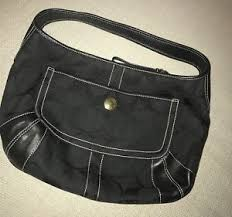 Image is loading Coach-Signature-Black-Canvas-Leather-Large-Hobo-Shoulder-