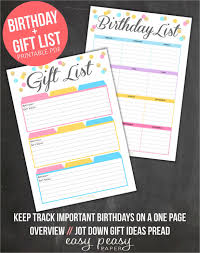 Birthday List Template 12 Free Psd Eps In Design Format