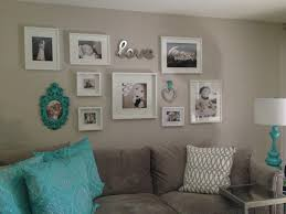 Frame For Living Room White And Aqua Photo Wall In My Living Room Using White Frames