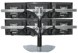 Flat Screen Display Stand Six LCD Multiple Monitor Stand use up to 100 LCDs 62