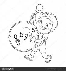coloring page outline of cartoon boy playing the drum al instruments coloring book for