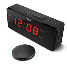 iluv timeshaker boom vibrating alarm clock with wireless bed shaker