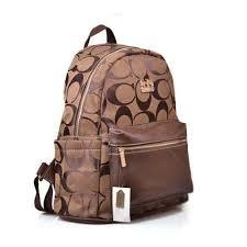 Coach Logo Monogram Medium Coffee Backpacks DPH