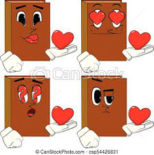 books holding red heart in his hand cartoon book collection with various faces expressions vector set