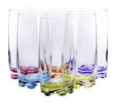 vibrant splash water beverage highball glasses 13 25 ounce set of 6