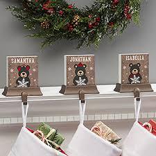 Holiday Bear <b>Family Personalized Stocking</b> Holders