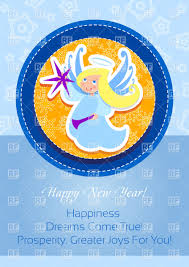 blue greeting card with angel in round frame vector image vector artwork of holiday to zoom