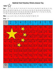Chinese Number Chart China Flag Chinese Hundred Chart Mystery Picture With