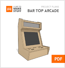 this small bar top arcade uses a 17 monitor with a 4 3 aspect ratio the old non widescreen ones and is made from less than one sheet of 1 2 plywood