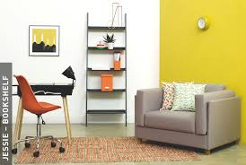furniture for a small space. Grey Sofa, Orange Office Chair And Black Leaning Storage Unit Desk. Shop Shelving · Small Spaces Inspiration Furniture For A Space