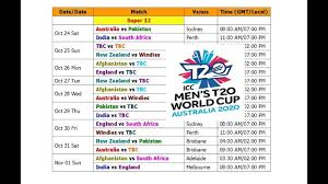 Asia Cup Chart Icc Mens T20 World Cup 2020 Schedule Time Table