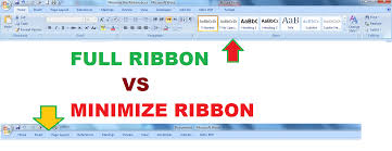 Word Ribbon How To Hide Menu Or Minimize The Ribbon And Restore It In