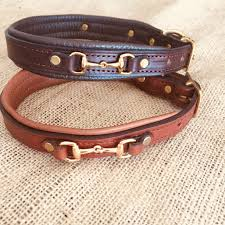 personalized padded leather dog collar with bits and brass nameplate
