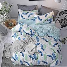2019 blue green tropical leaves stripes bedding set twin queen king au single uk double size gift from duvet cover pillow from hongheyu