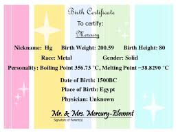 Element Birth Certificate Mercury Element Baby Book By Julia J