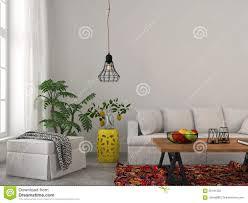 Modern White Furniture For Living Room Modern Living Room With White Furniture And Black Chandelier Stock